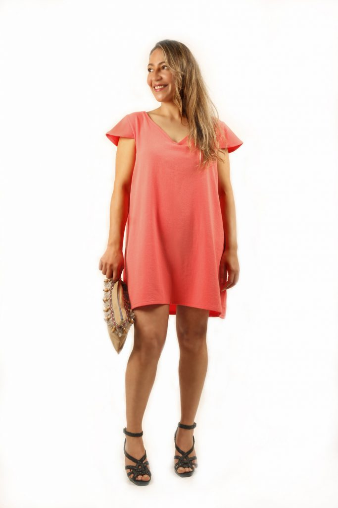 design by lia vestido playero color coral